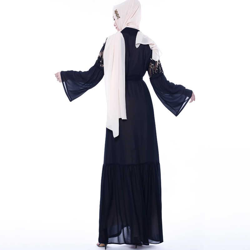 Eid блесток абайя кимоно мусульманский кардиган платье хиджаб абайя s для Женский Восточный халат Дубай Оман кафтан молитва турецкая исламская одежда