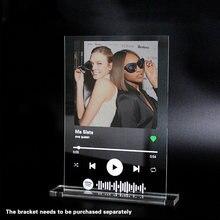 Spotify placa de acrílico fotos pessoais aniversário plexiglass transparente limpar plástico folha suporte decoração canções personalizadas
