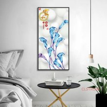 Chinese Style Home Decoration Art Posters And Prints Purple And Blue Flowers Canvas Painting Living Room Wall Pictures No Frame(China)