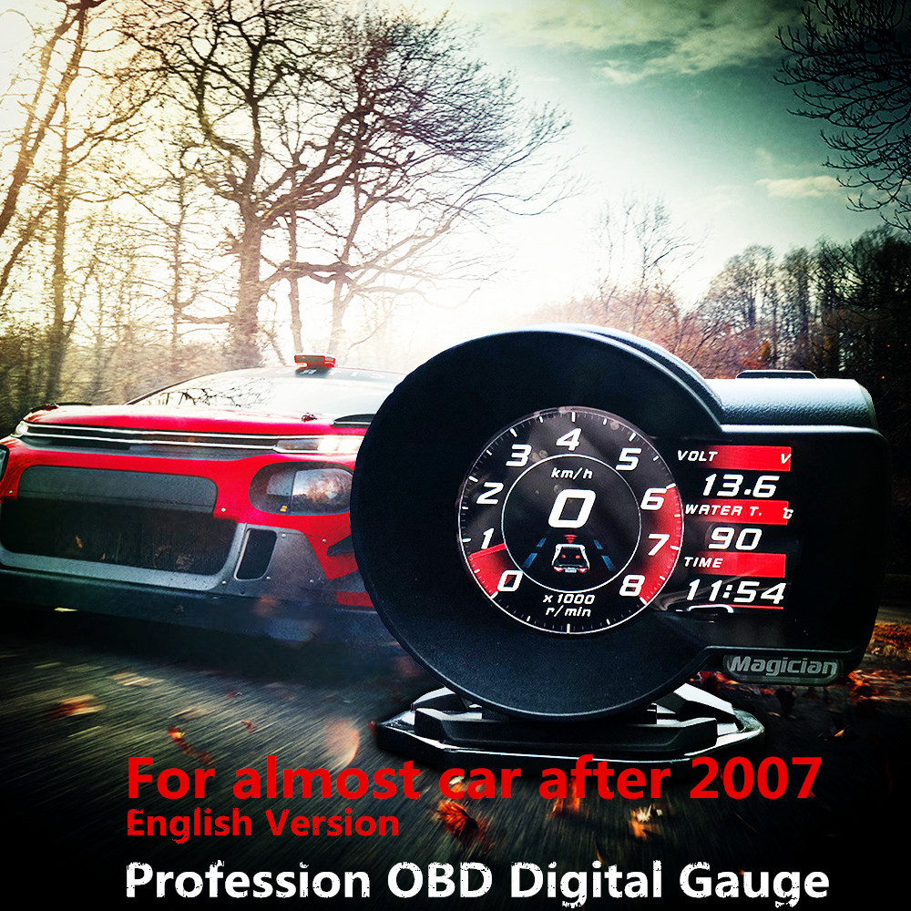 Profession Magician OBD Head Up Display Car Digital Boost Gauge Voltage Speed Meter ect. Water Temp Alarm Auto Diagnostic Tool