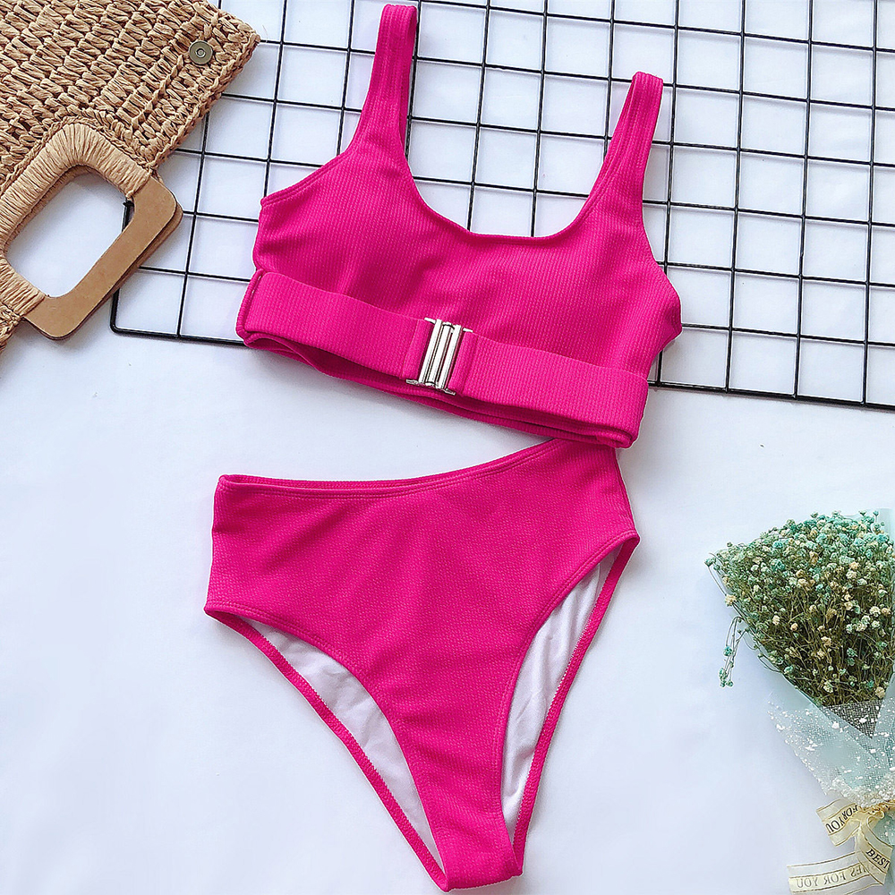 ZTVitality Solid Push Up Bikini 2020 New Arrival Padded Bra Buckle Sexy Swimsuit Female Biquini High Waist Swimwear Women S-L 4
