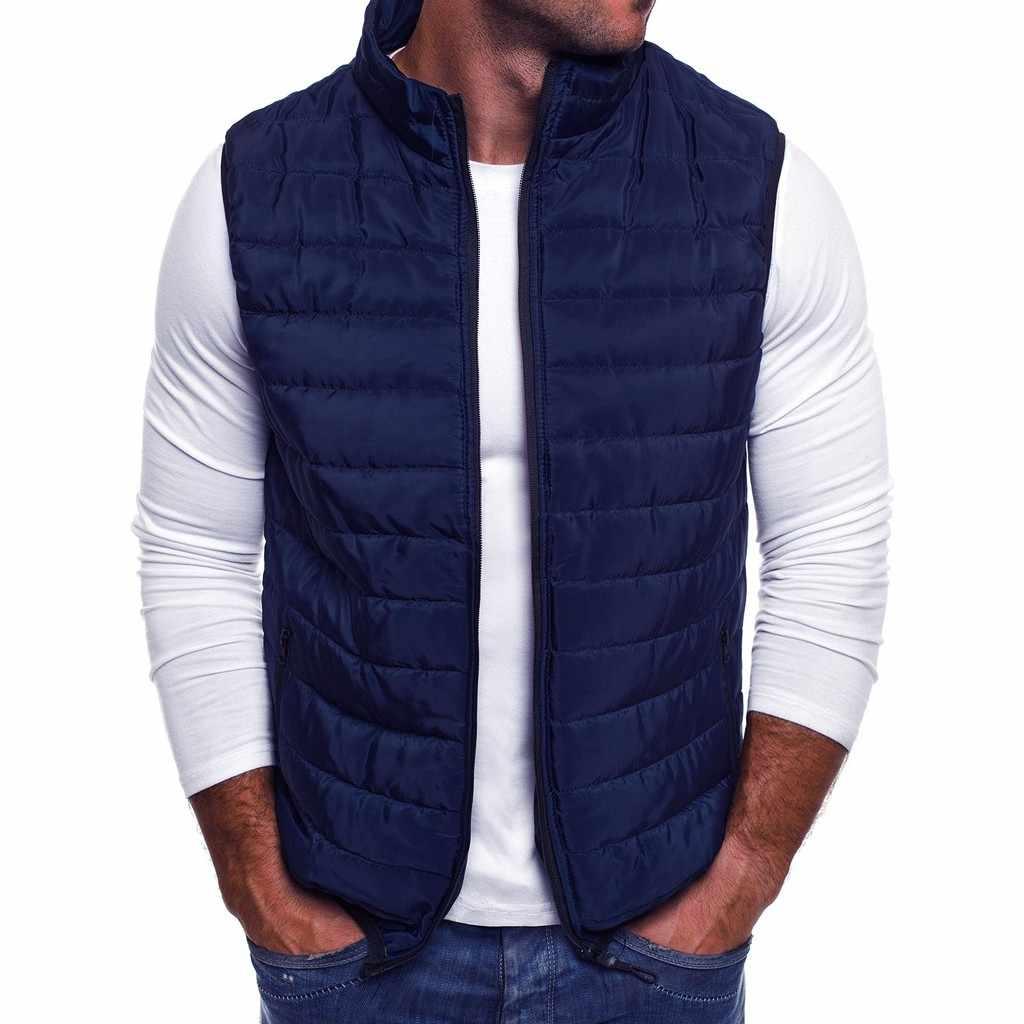 Feitong Para Hombre Otoño Invierno Chaleco Chaqueta Cremallera Moda Soporte Collar Color Sólido Chaleco Top Abrigo Masculino