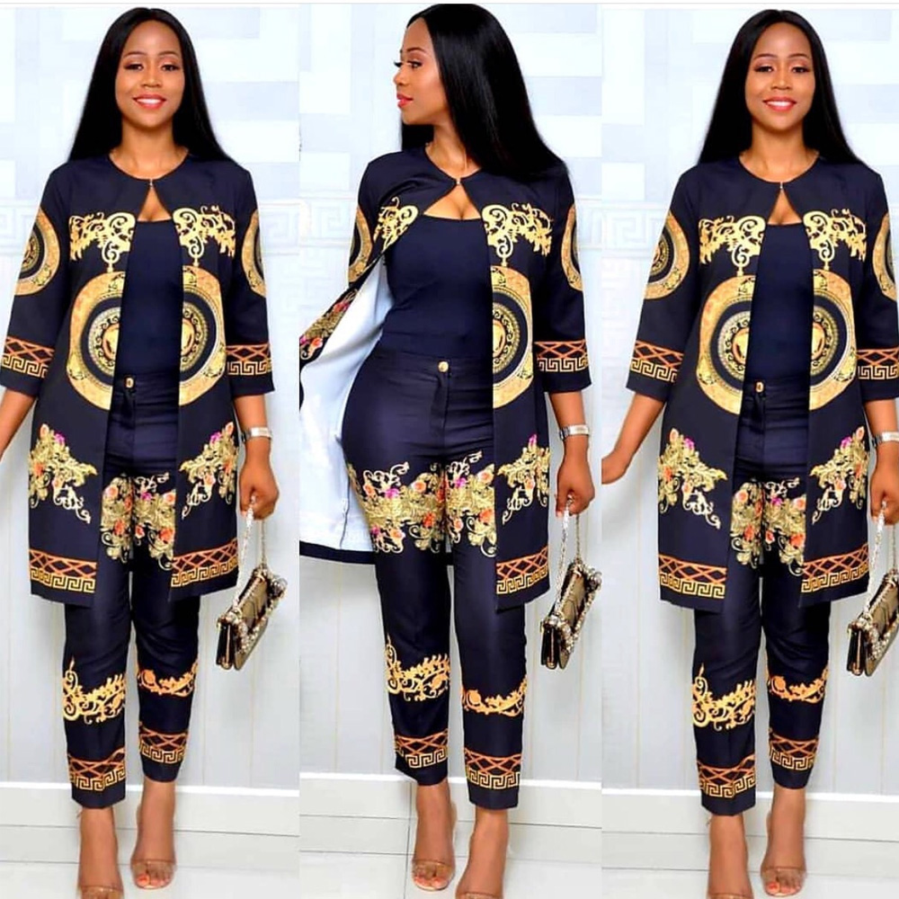 2019 Autumn African Print Elastic Bazin Baggy Pant Rock Style Dashiki 3/4 Sleeve Famous Suit For Women Coat And Legging 2pcs Set