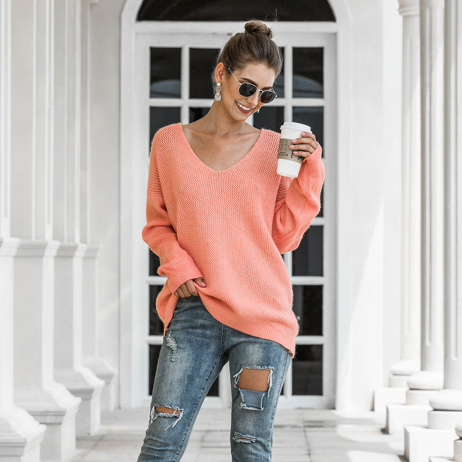 New Autumn Winter Warm Women Sweater V Neck Ladies Casual Loose Knitted Pullover Plain Color Female Jumper 2020 Mujer Invierno