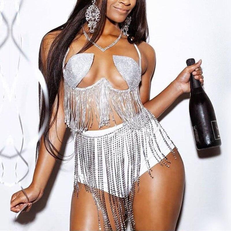 Sparkly Diamonds Tasse Bikini Set Women Halter Low Cut Crop Tops Irregular Rhinestone Waist Chain Summer Fashion Beachwear