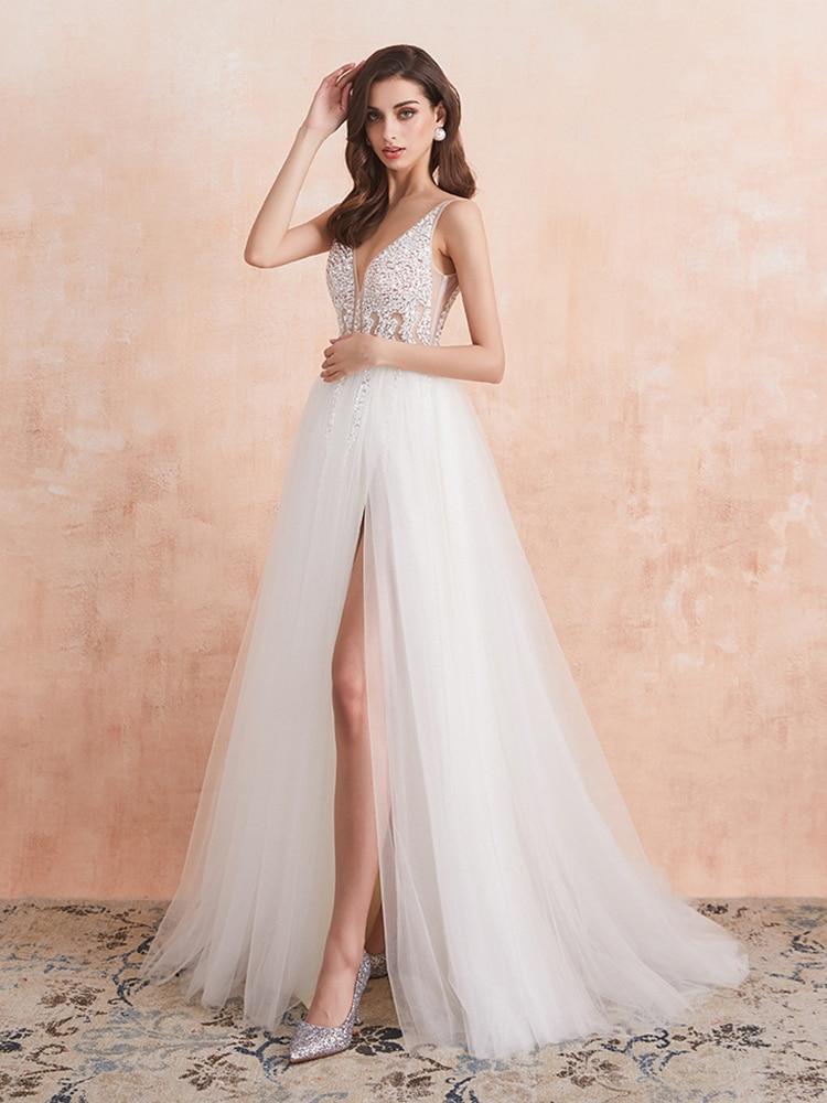 Wedding-Dress Bridal-Gown Crystal Backless Ivory White V-Neck No Pearls A-Line Vestido-De-Noiva