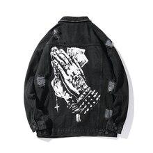Харадзюку, Мужская Уличная джинсовая куртка с дырками и ручным принтом, Мужская однотонная ветровка в стиле хип-хоп, джинсовая куртка-бомбер, свободная куртка