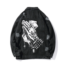 原宿ハンドプリント穴やつストリートジーンズジャケット男性ラペル固体ヒップホップウインドブレーカーデニムボンバージャケット緩い