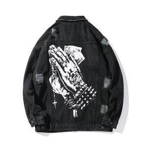 Image 1 - Harajukuมือพิมพ์หลุมChaqueta Hombre Streetwearกางเกงยีนส์ชายเสื้อLapel Hip Hopเสื้อกันหนาวDenim Bomberแจ็คเก็ตหลวม