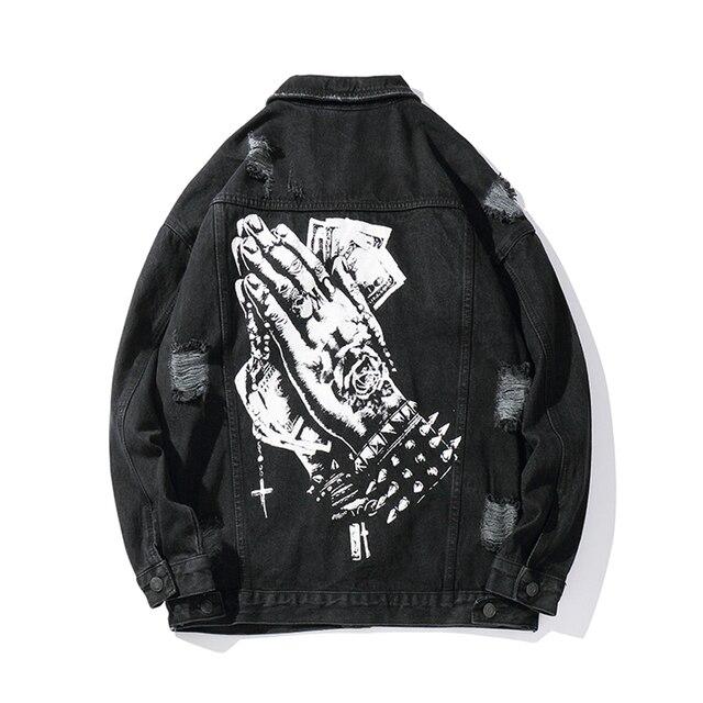 Harajukuมือพิมพ์หลุมChaqueta Hombre Streetwearกางเกงยีนส์ชายเสื้อLapel Hip Hopเสื้อกันหนาวDenim Bomberแจ็คเก็ตหลวม
