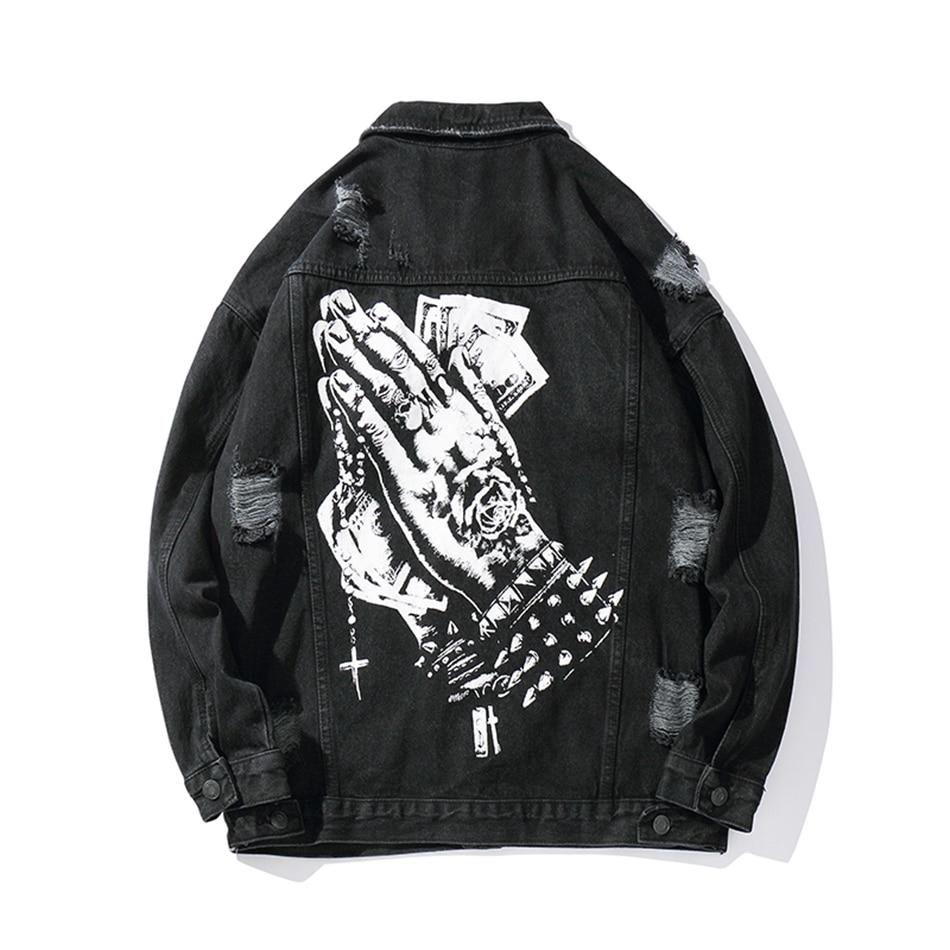 Harajuku Hand Print Hole Chaqueta Hombre Streetwear Jeans Jacket  Men Lapel Solid Hip Hop Windbreaker Denim Bomber Jacket LooseJackets