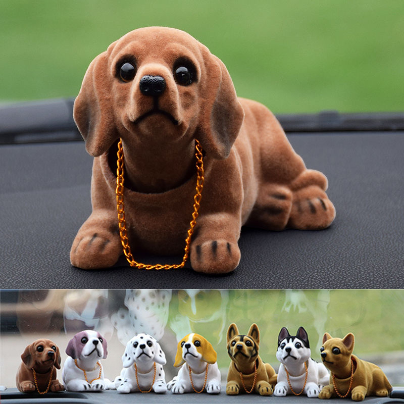 Doll Nodding Dog Shaking Head Resin Simulation Car Dog Toy Dashboard Decoration Car Ornament Cute Car Accessories Girls Women