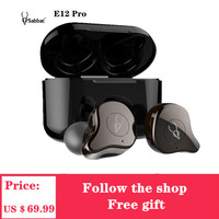 Sabbat E12 Pro TWS In ear Sport Headset Wireless Bluetooth Earphones HIFI Monitor Noise Headphones Wireless Charging PK X12 Pro