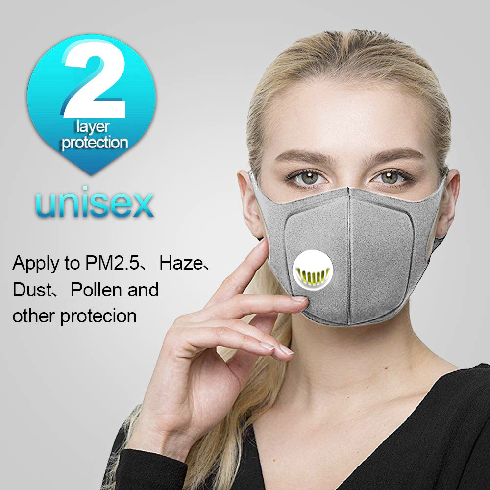 2Pcs/Lot Sponge Dust Masks - Respirator Mask With Breath Valve Anti-Dust Anti Pollution Face Mouth Mask Breathable For Men Women
