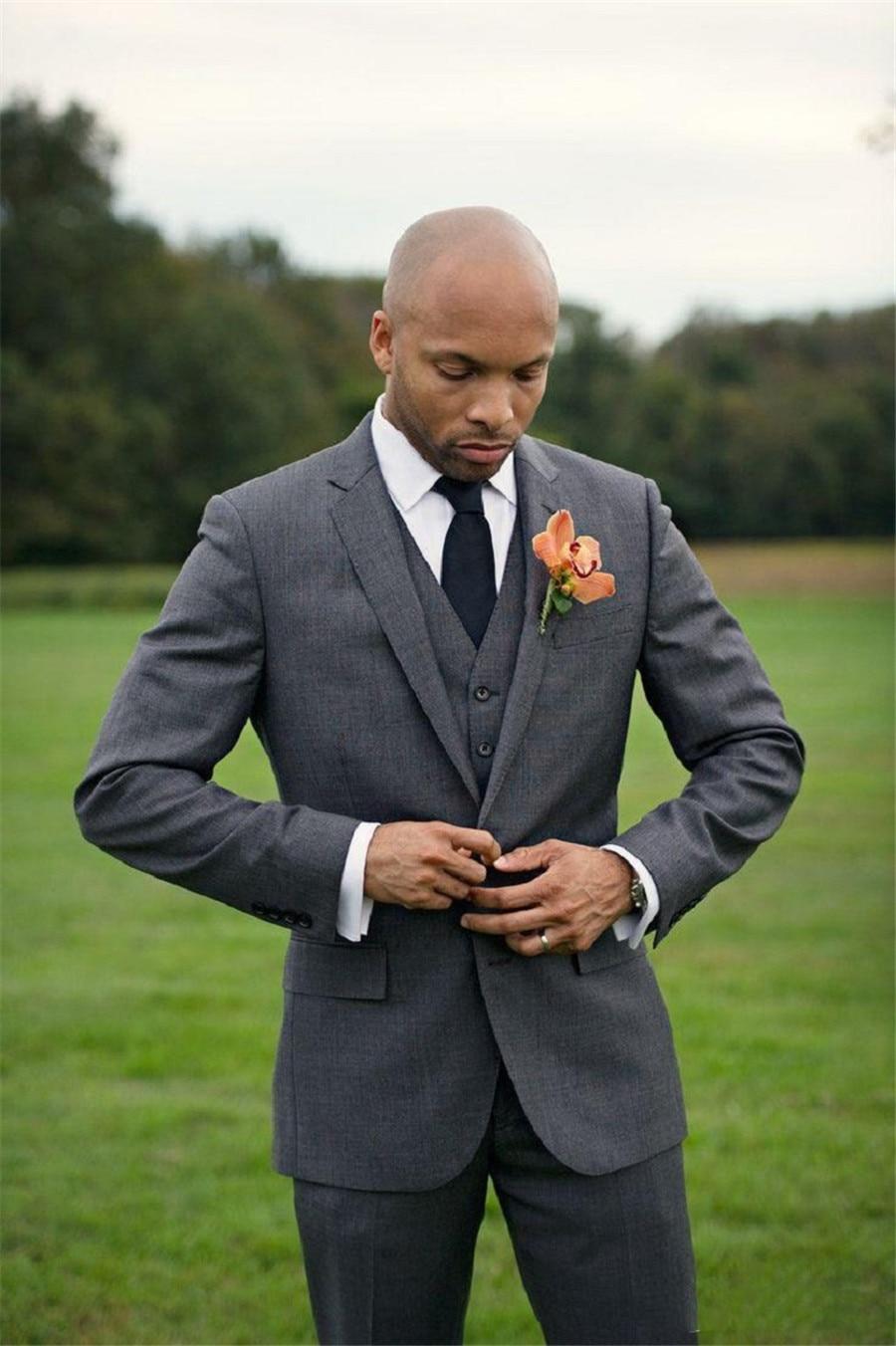 Humble Grey Men Formal Suit Blazer Set Slim Fitted Groom Wedding Party Tuxedos Groomsman Wear Customized (Jacket+Vest+Pants)