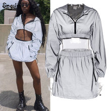 2019 Reflective Two Piece Set Short Hooded Pullover Top And Skirt Gray 2 Women Fashion Outfits