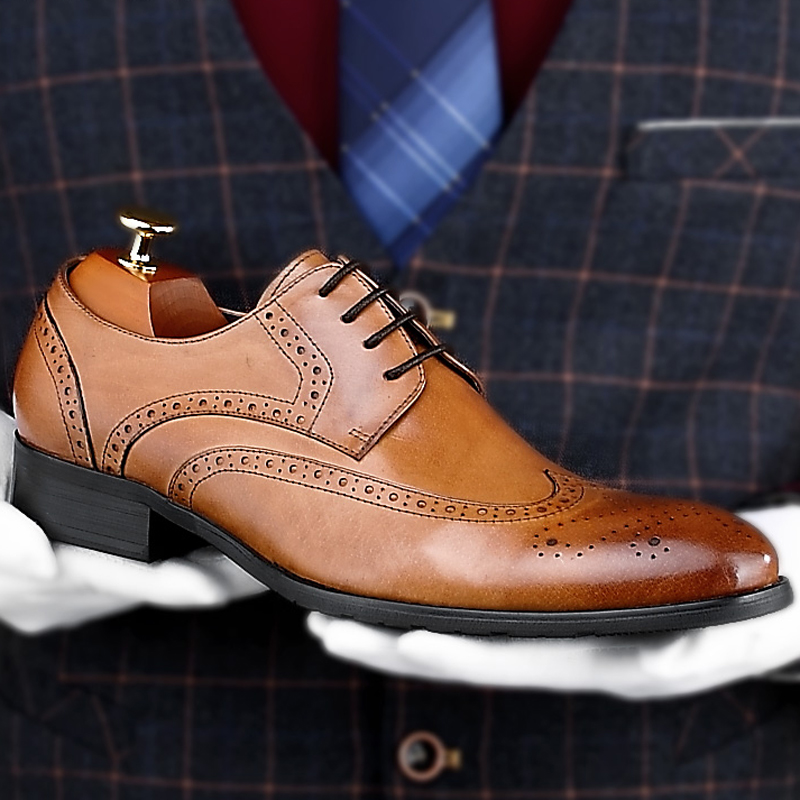 Mens Handmade Shoes Formal Wear Genuine Leather Derby Oxford Brogue Wingtip Boot