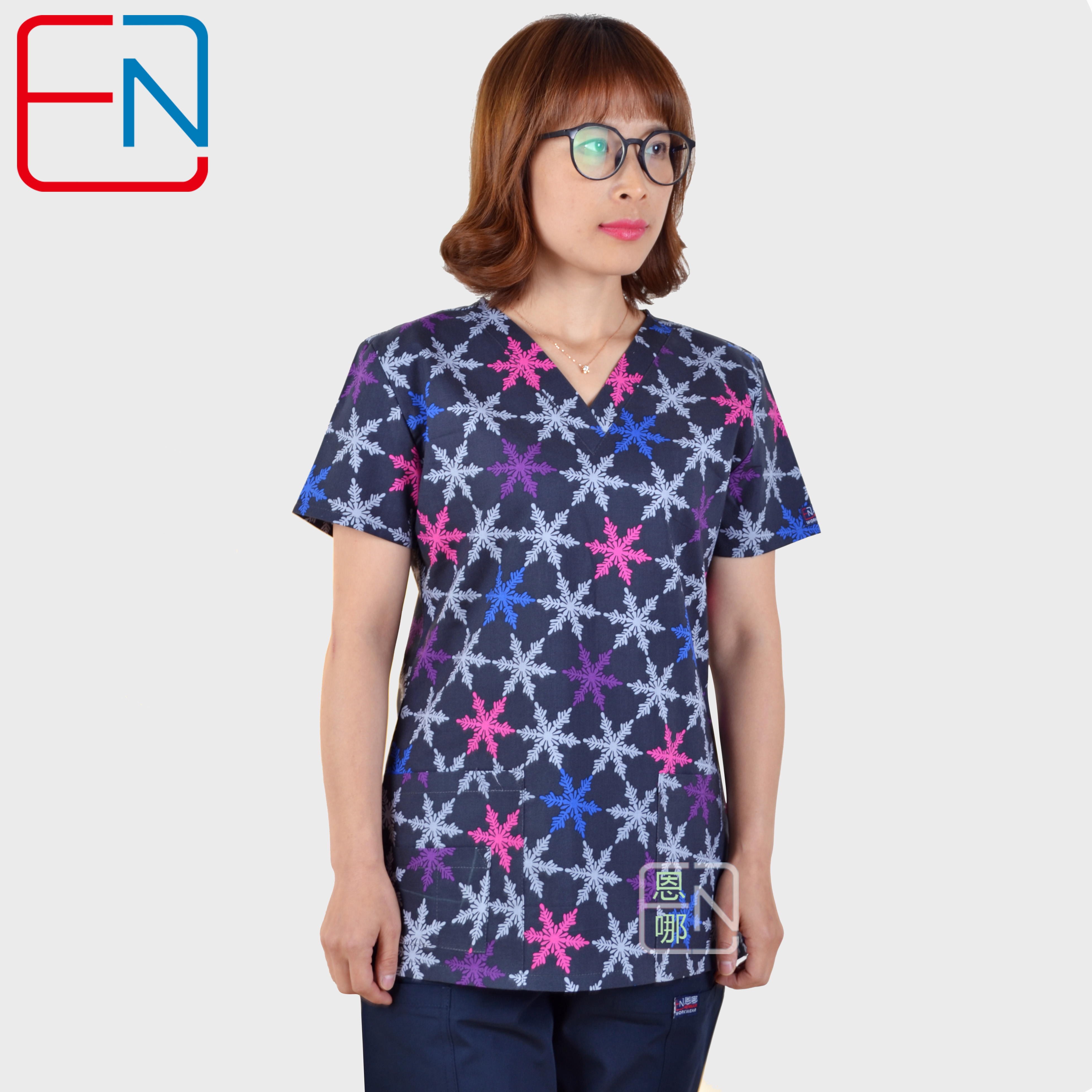 5 DESIGNS IN  Hennar Brand Medical Scrub Tops Surgical Scrubs,scrub Uniform 100% Print Cotton Christmas Design Medical Uniforms