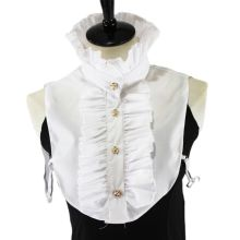 Womens Victorian Vintage Palace Half Shirt Blouse Stand-Up Ruffles Fake Collar stylish lace up stand collar blouse