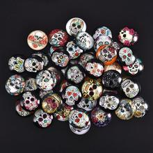 50pcs Mixed Skull Ghosts Glass Cabochon Dia 12/20/25mm Round Cabochons Demo Flat Back for DIY Halloween Jewelry Making
