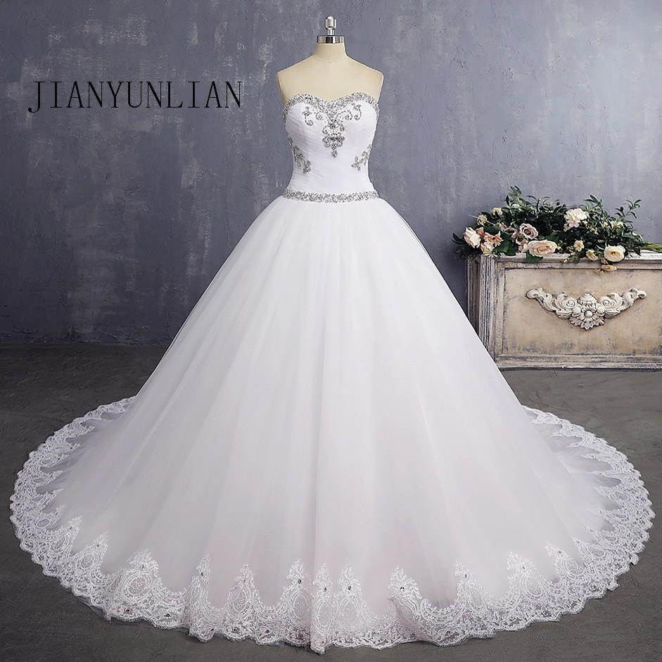 Real Photo Ball Gown Sweetheart Lace Crystal Beaded Diamond Luxury Formal Wedding Dresses 2020 New Custom Made