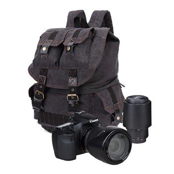 Na płótnie plecak na aparat europa i ameryka Retro torba na aparat fotograficzny DSLR torba na aparat plecak płócienna torba na aparat hurtownia konfigurowalny tanie i dobre opinie