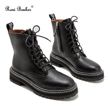 Roni Bouker Hot Women's Winter Ankle Black Boots Woman Lace Up Vintage Booties Women Short Martin Boot Fashion Ladies Shoes(China)