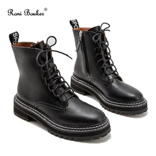 Roni Bouker Hot Women's Winter Ankle Black Boots Woman Lace Up Vintage Booties W