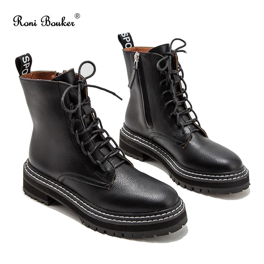 Roni Bouker chaud femmes hiver cheville noir bottes femme à lacets Vintage chaussons femmes court Martin botte mode dames chaussures