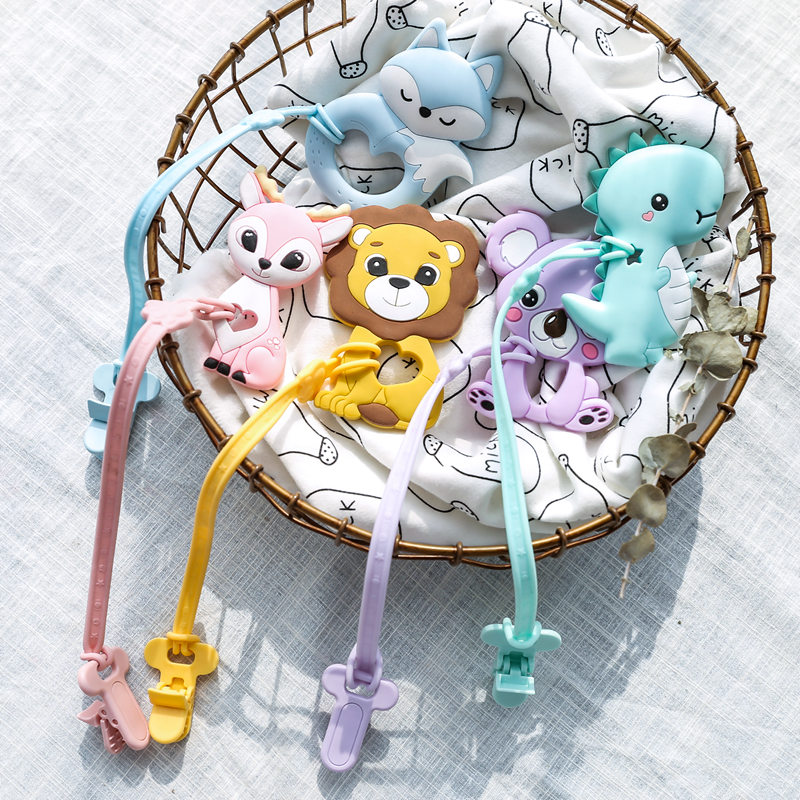 Baby Pacifier Clips Chain BPA Free Food Grade Siicone Teether Cartoon DIY Pacifier Holder For Kids Boy And Girls Gift Let's Make