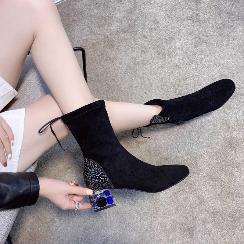 Cristal talons épais léopard stretch slim bottes dos à lacets troupeau femme mode chelsea botas tout match femme mi-mollet chaussons