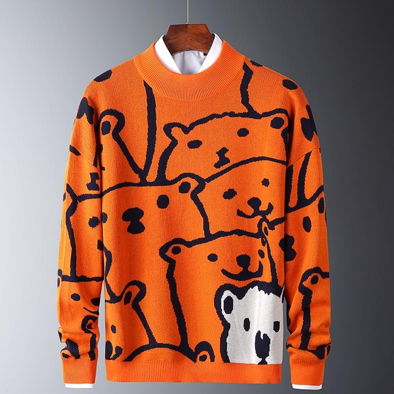 Herren Herbst Casual Pullover Polar Bär Muster Trendy Schlank Pullover Baumwolle Langarm Runde Kragen Männlichen Warme Pullover Orange