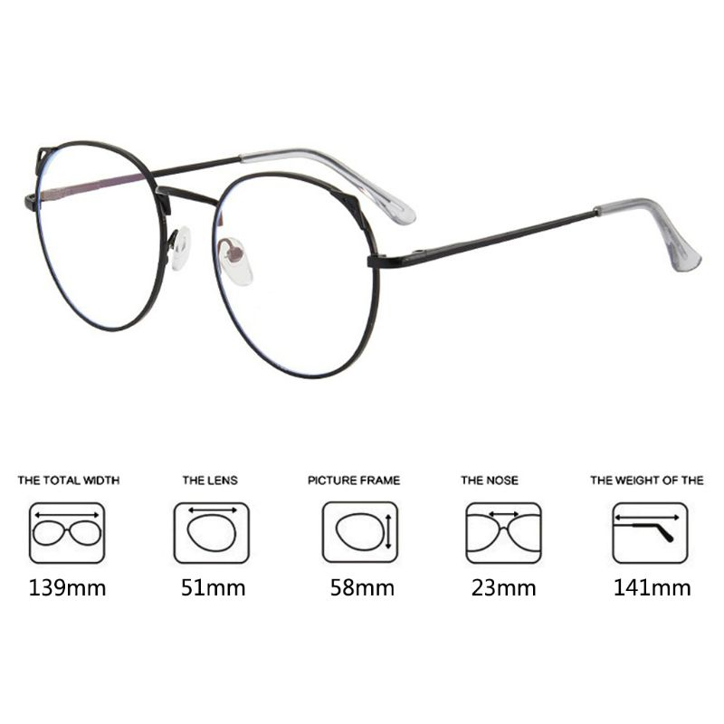 Unisex Anti Blue Light Cute Round Cat Ears Eyeglasses Frame Computer Eye Protection Optical Glasses