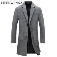 Autumn Winter New Fashion Brand Men's Clothes Trend Jacket Wool Coat Men Slim Fit Peacoat Wool & Blends Winter Long Men Coat 5XL