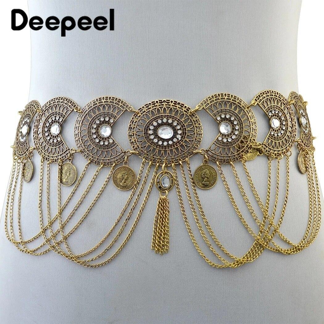 Deepeel 1pc 5cm*94cm Women Metal Hollow Vintage Carved Cummerbund Tassel Rhinestone Decorative Waist Chain For Belly Dance CB602