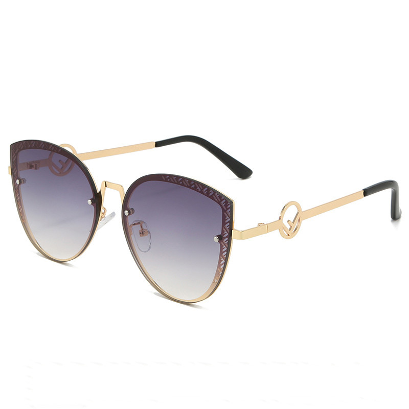 Женские солнцезащитные очки «кошачий глаз» с надписью, в металлической оправе