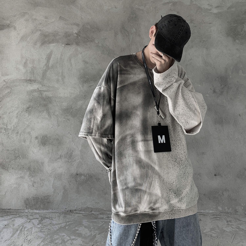 2019 New Autumn Fashion Sweatshirt Hip Hop Streetwear Retro Korean Style Snow Washed Long Sleeve Fake Two Pieces Hoodie Men 2