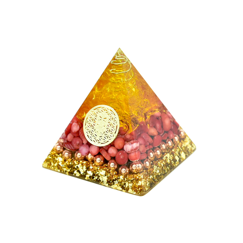 Reiki Orgonite Natural Crystal Orgone Pyramid Energy Generator Jade Coral Citrine Emf Protection For Chakra Healing For Home