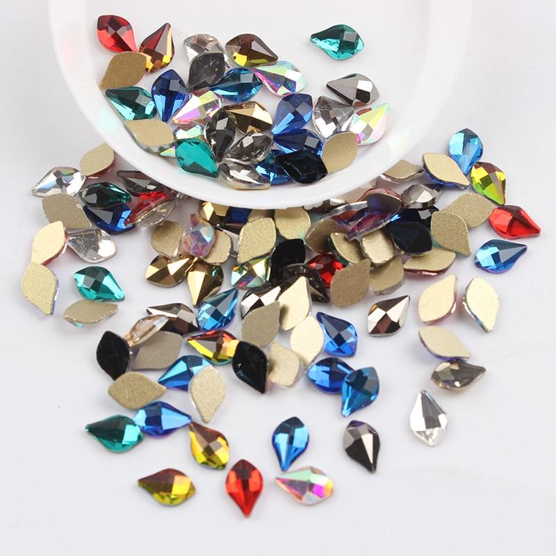 Все смешанные цвета, 30 шт, стразы для дизайна ногтей, сделай сам, без горячей фиксации, стеклянные камни для ногтей, драгоценные камни для 3D украшения для ногтей - Цвет: 5x8mm Pear
