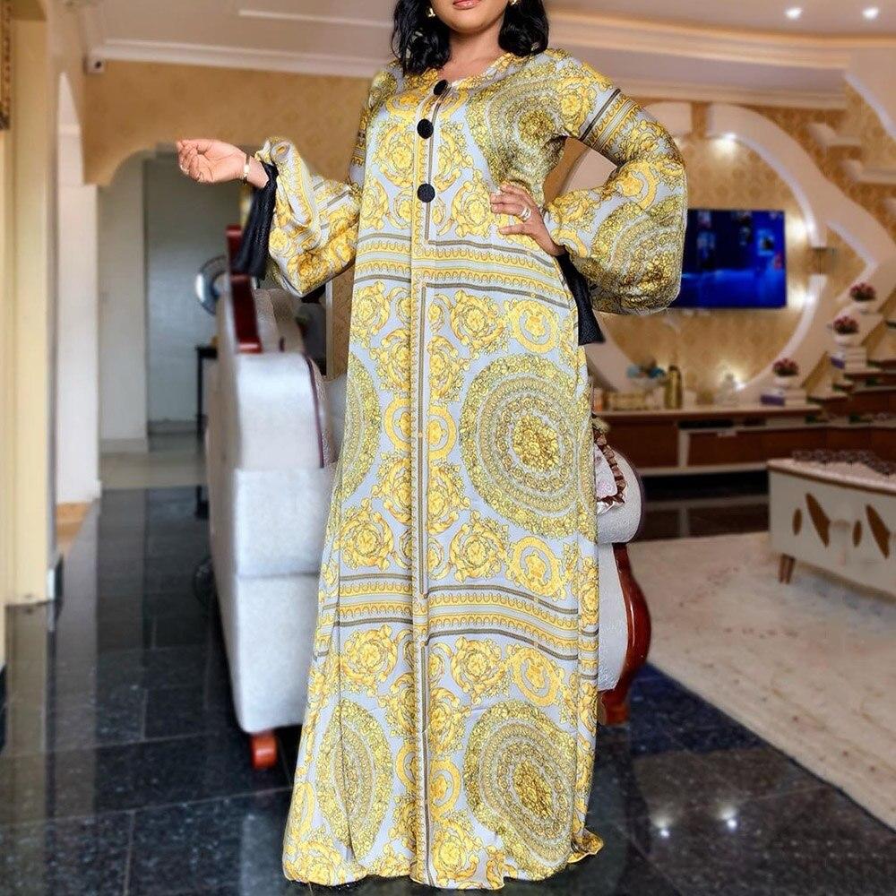 Autumn Long Sleeve Dress African Ladies Rich Bazin Golden Print Vintage Dress Plus Size 3XL Party Long Female Vestidos Fashion
