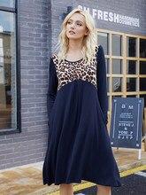 Jesienno-zimowa sukienka damska Leopard szwy plisowane sukienki z dzianiny O-Neck z długim rękawem Casual
