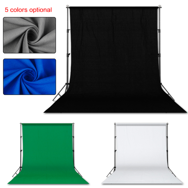 Photography 3*4M Background Backdrop Stand Support System Kit for Photo Studio with 3 Pcs White Black Green Muslin Backdrops