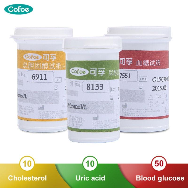Cofoe Tiras de Teste de Glicose No Sangue com o Ácido Úrico e Colesterol Total Lancetas Agulhas Apenas para 3 em 1 Cofoe BKM13-1 Detectando dispositivo