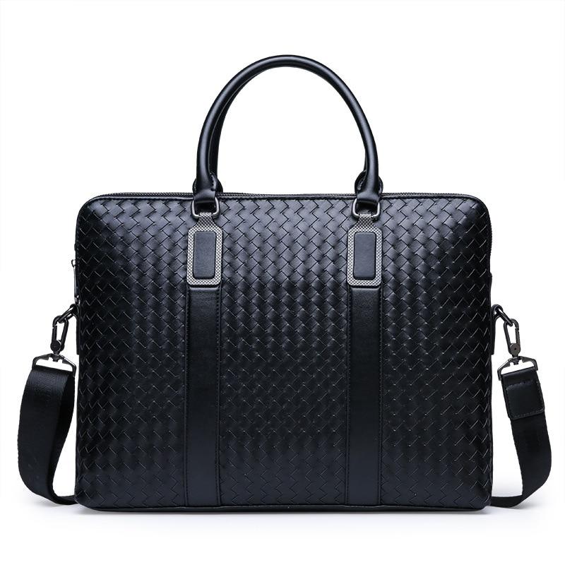 New Fashion Men's Briefcase Business Travel Bag Woven Male Handbag Casual Shoulder Crossbody Bag Laptop Messenger Bag for Man|Briefcases| - AliExpress