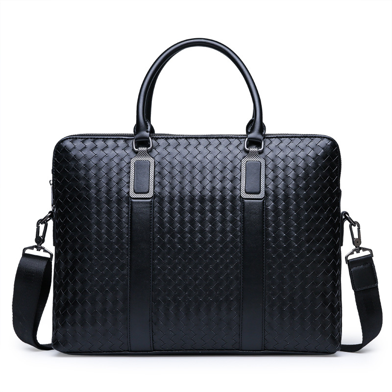 New Fashion Men's Briefcase Business Travel Bag Woven Male Handbag Casual Shoulder Crossbody Bag Laptop Messenger Bag For Man