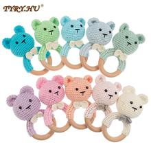 TYRY.HU 10PC Teether Wooden Crochet Rattle Toy BPA Free Wood Rodent Bear Rattle Baby Product Newborn Stroller Educational Toy