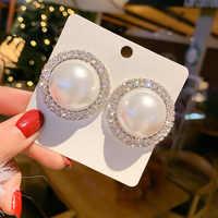 Zirkon Geometrische Baumeln Ohrringe für Frauen Bijoux Exquisite Perle Studs Kristall Ohrringe Erklärung Ohrringe Schmuck Gesche