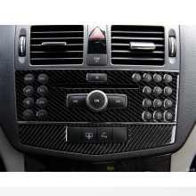 car styling interior buttons panel decoration cover trim sticker frame for mercedes benz c class w204 2011 2014 auto accessories Carbon Fiber Interior Decoration Center Control Console CD Panel Cover Trim for Mercedes Benz W204 C Class Car Decal Accessories