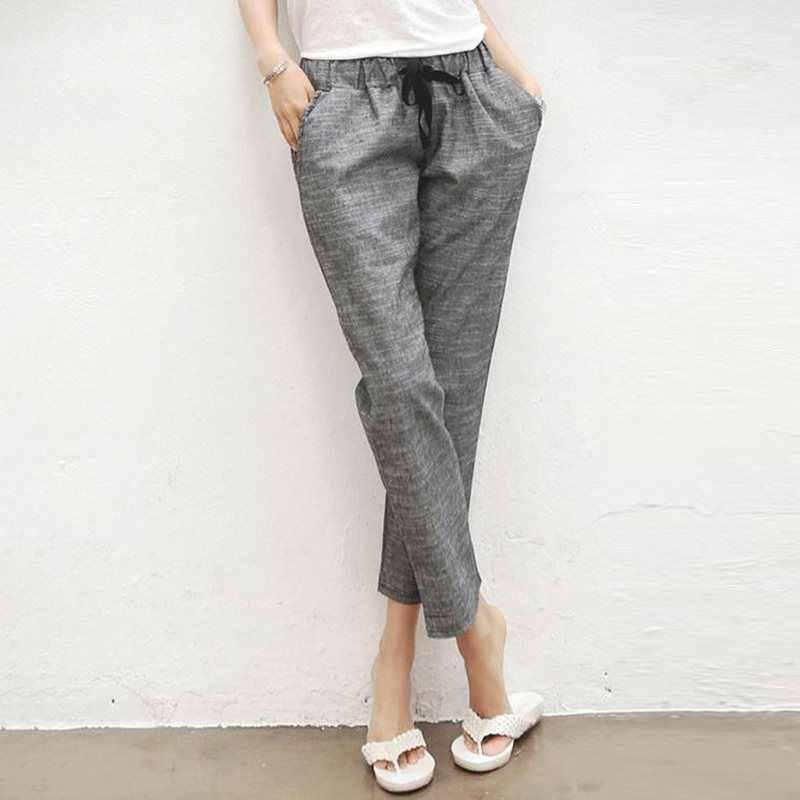 Calças De Linho Mulheres Cinza casuais Solta Cintura Alta Tornozelo-Comprimento das Calças 2019 Outono Estilo Coreano Estilo Elegante Escritório Senhoras Calças