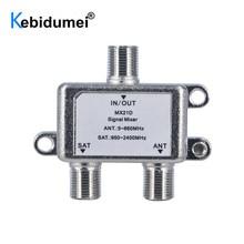 Kebidu 10pcs 2 דרך יציאת טלוויזיה אות לווין ספליטר ישב קואקסיאלי Diplexer Combiner כבל מתג Switcher 1 ב 2 מתוך שימוש כפול